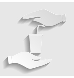 Drink sign paper style icon vector