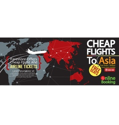 Cheap flight to asia 1500x600 banner vector