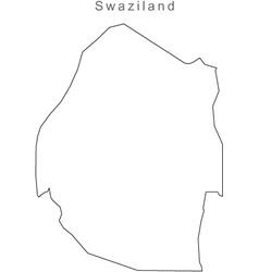 Black White Swazliland Outline Map vector image