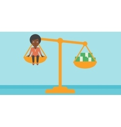 Business woman on scale with stacks of money vector