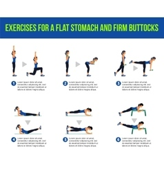 Aerobic icons buttocks workout vector