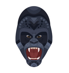 Angry wild ferocious gorilla screaming head logo vector
