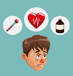 blue color background with sickness man face icons vector image