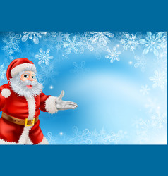 Blue snowflakes and santa background vector