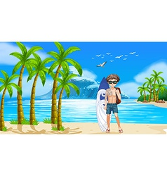 Boy and beach vector image