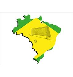Brazilian map and football vector