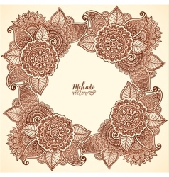 Brown henna colors floral frame in mehndi vector