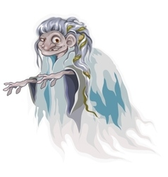 Cartoon old witch with seaweed in hair isolated vector