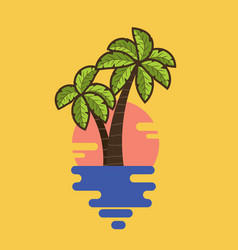 cartoon palms with tropical leaves vector image