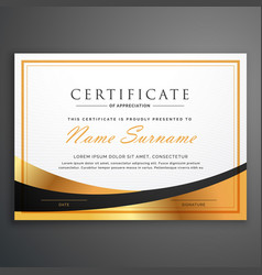 certificate template deisgn with golden wave vector image vector image