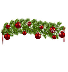 christmas decoration green branches of a vector image