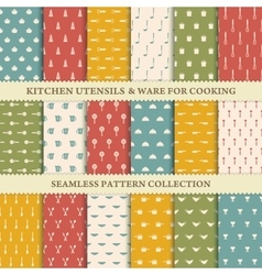 Collection of seamless backgrounds of kitchen vector image vector image