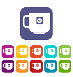 Cup of tea icons set vector
