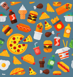 fast food icons restaurant tasty cheeseburger meat vector image