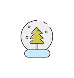 flat color snow globe icon vector image vector image