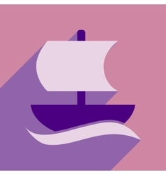 Flat web icon with long shadow sailing ship vector