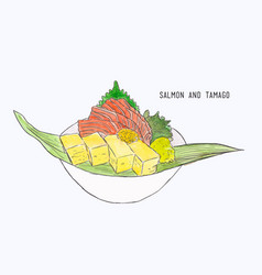 fresh salmon and egg roll sashimi hand draw vector image vector image