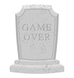 Game over tomb carved stone end of game text vector