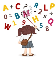 Girl catches net of letters and numbers vector