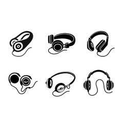 Headphones icon set in black on white background vector image