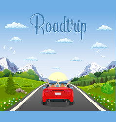 Highway drive with beautiful landscape vector