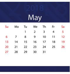 May 2018 calendar popular blue premium for vector