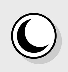 Moon sign flat black icon in vector