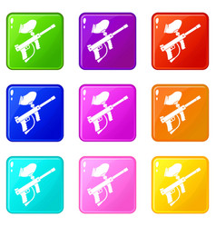 Paintball marker set 9 vector