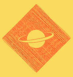 Planet in space sign red scribble icon vector