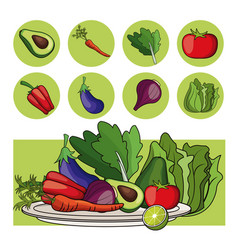 Plate vegetables healthy food organic vector