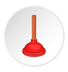 Red cup plunger icon cartoon style vector