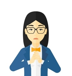 Regretful woman with clasped hands vector
