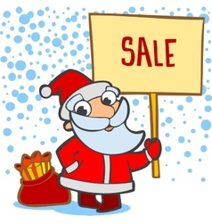 Santa with a bag of gifts and banner vector image vector image