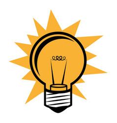 Silhouette light bulb in pop art design vector