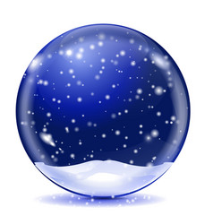 snow glass globe blue sphere with white vector image vector image