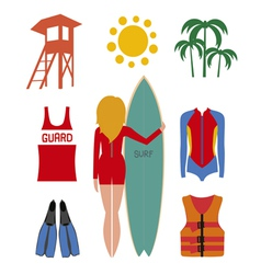 Surfing set vector