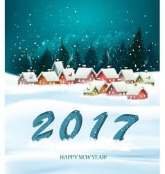 Winter village night new year background vector