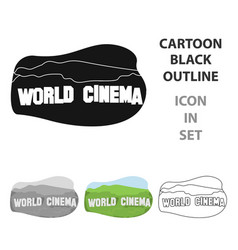 world cinema sign icon in cartoon style isolated vector image