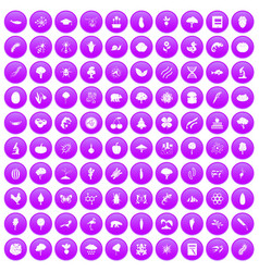 100 microbiology icons set purple vector