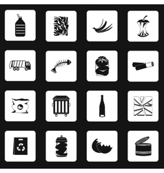 Garbage icons set in simple style vector