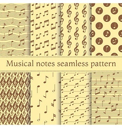 Set of musical notes seamless pattern vector