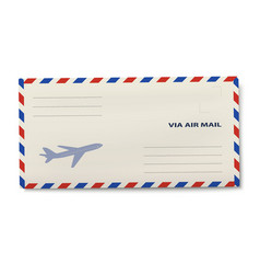 Via air mail dl envelope isolated on white vector