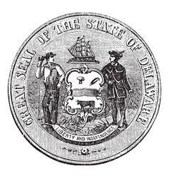 Delaware seal engraving vector
