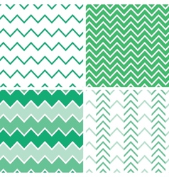 Set of four emerald green chevron patterns and vector