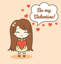 Cute girl holding heart and speech bubble with vector