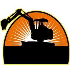 Mechanical Digger with sunburs vector image