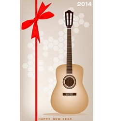 New year gift card of a classical guitar vector