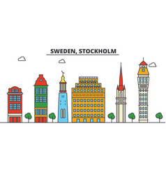 sweden stockholm city skyline architecture vector image