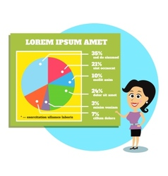 Businesswoman presenting graphs and charts vector image