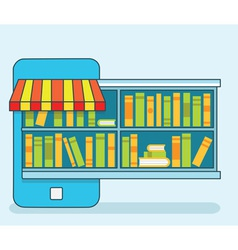 Mobile service - library of books for read online vector